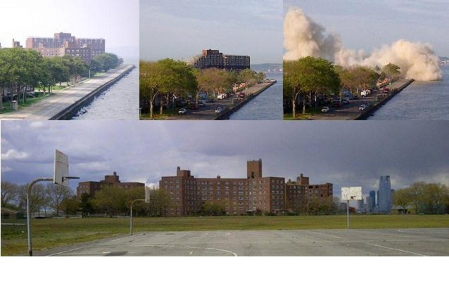 Top row: Building 877 in 2004 and 2013 demolition. Bottom row: Buildings 844, 855 & 866.