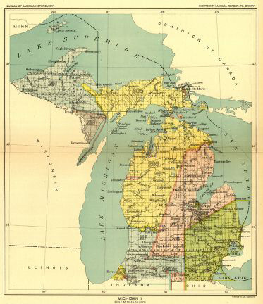 Colorful map showing Indian land cessation in Michigan
