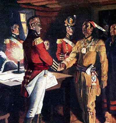 A British officer shakes hands with a Native American leader.