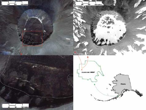 composite image of an alaska map and satellite images of a volcano caldera