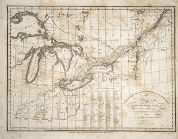 An antique map depicts northern America from Wisconsin to Maine, the Great Lakes, and Canada.