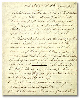 A handwritten letter of surrender by General Hull.