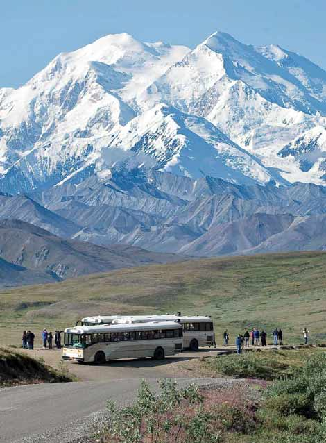 people standing near buses, looking at a vast snowy mountain