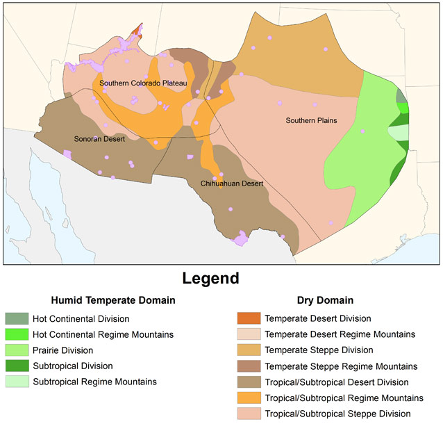 Major ecological regions and NPS Inventory and Monitoring Networks in the Southwest.