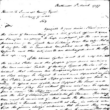 A handwritten letter from Captain Thomas Truxtun to Secretary of War James McHenry.