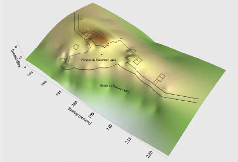 areas of excavation indicated on a computer-generated topographic image