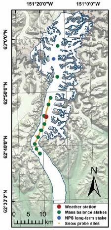 map of a long, narrow glacier with dots on it marking study areas