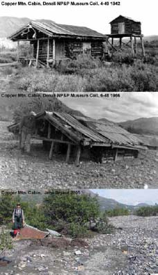 three historic images, showing a log cabin progressively buried in gravel over time
