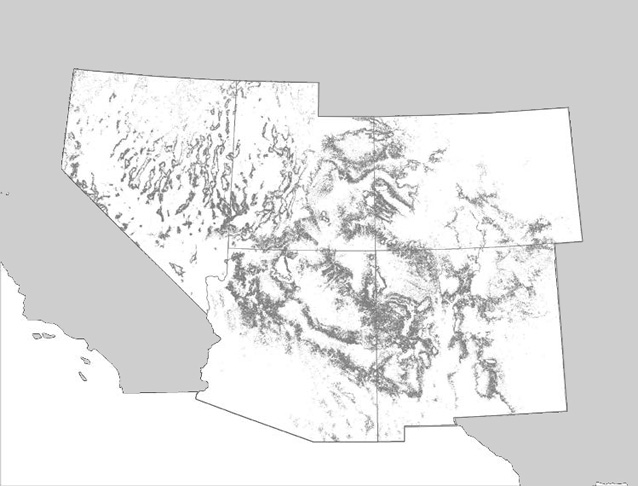 Distribution of pinyon and/or juniper dominated woodland/savanna.