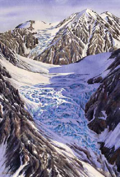 painting of a glacier on a rocky mountain