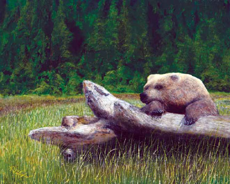 painting of a brown bear lounging on a fallen tree