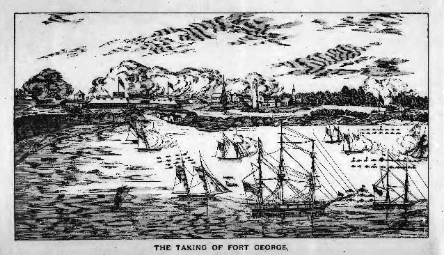A woodcut drawing depicts sailing ships bombarding a riverside town.
