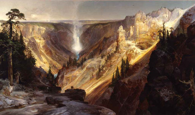 painting of a deep canyon and misty waterfall spilling down it