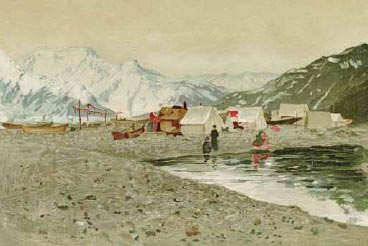 painting of tents near a seashore, mountains in the distance