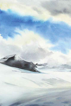 painting of a vast white glaciere under a blue sky
