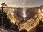 painting of a thin waterfall in a deep canyon