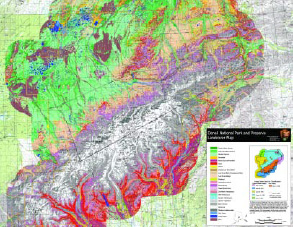 multi-colored map of denali national park