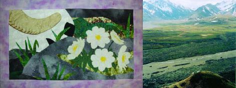 patch of a quilt showing a sheep horn and flowers, and a landscape photo