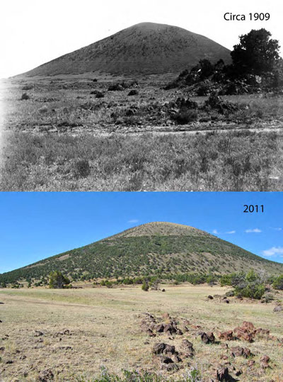 The north, northeast slope of Capulin Volcano in 1909 (top) and 2011 (bottom)