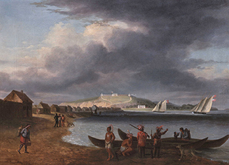 Painting of 1800s Indian village, canoes with British fleet in the background