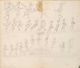 Pencil sketches of Odawa Indian warriors