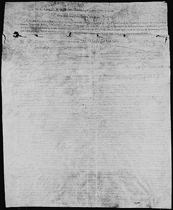 Front page from Treaty of Greenville, text smudged and illegible