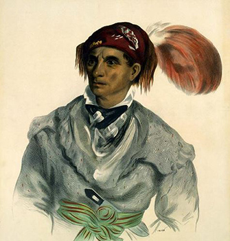 Drawing of a Cherokee man with turban, decorative sash, and long knife