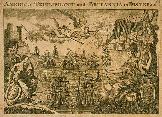 America holds up olive branch to French, Spanish and Dutch ships as Britannia weeps