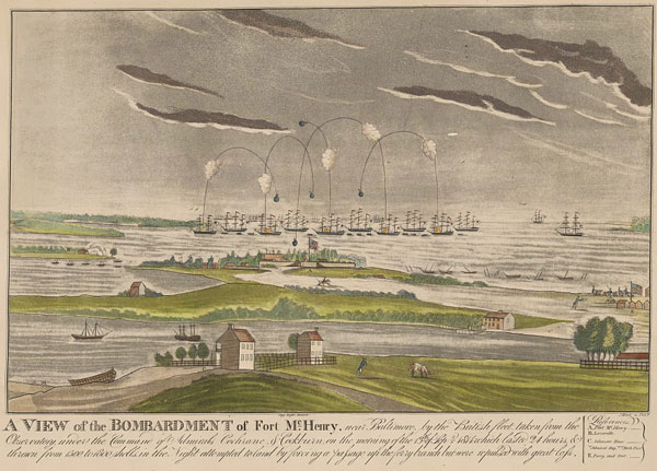Illustration of British ships bombarding Fort McHenry