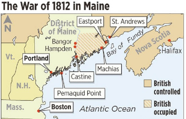 Color map of map with war of 1812 sites highlighted