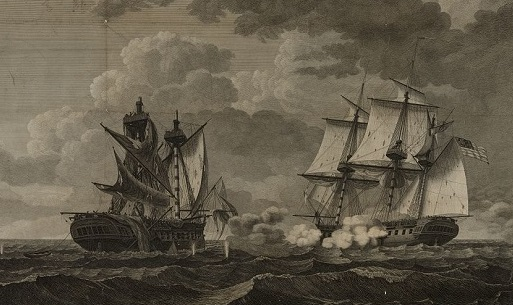 Sailing vessels engaged in a battle