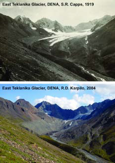 1919 photo of a glacier and 2004 photo of same mountain with no glacier visible