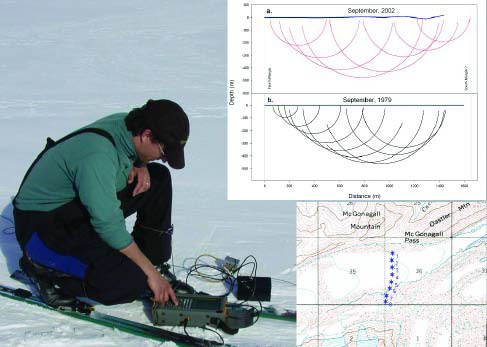 man kneeling on ice field, with a topo map and chart superimposed on the photo
