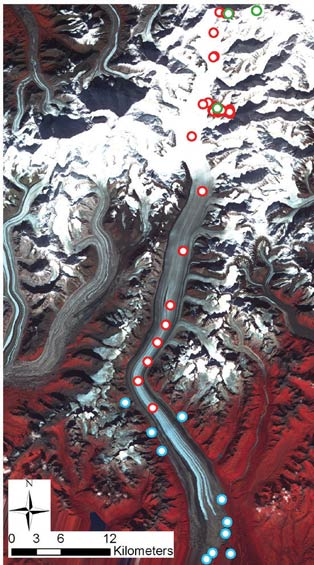 satellite image of mountains with dots indicating research sites on a glacier