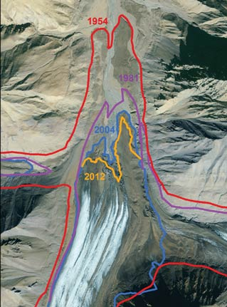 glacier with lines drawn to indicate its size in other years, all larger than the real size