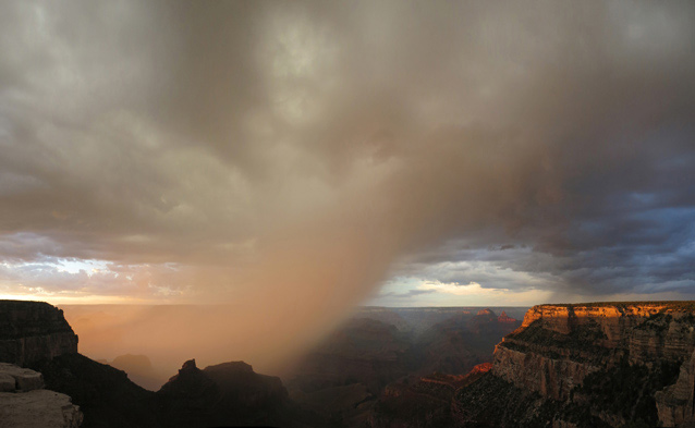 Critically important rain falling over the Grand Canyon.