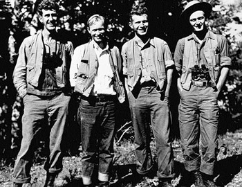 Crew of the 1935 vegetation mapping project (left to right, Mitchell, Marion, Hawbecker, Wagner)