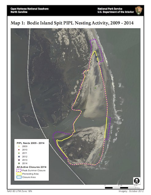 Map 1: Bodie Island Spit PIPL Nesting Activity, 2009–2014