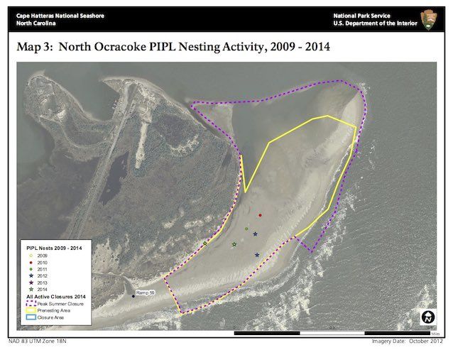 Map 3: North Ocracoke PIPL Nesting Activity, 2009–2014