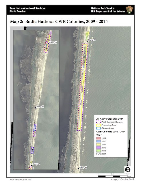 Map 2: Bodie Hatteras CWB Colonies, 2009 - 2014
