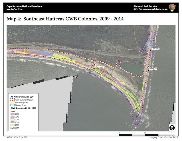 Map 4: Southeast Hatteras CWB Colonies, 2009 - 2014