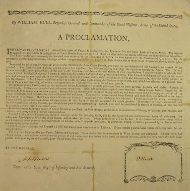 Image of General William Hull's Proclamation to residents of Upper Canada upon his invasion.