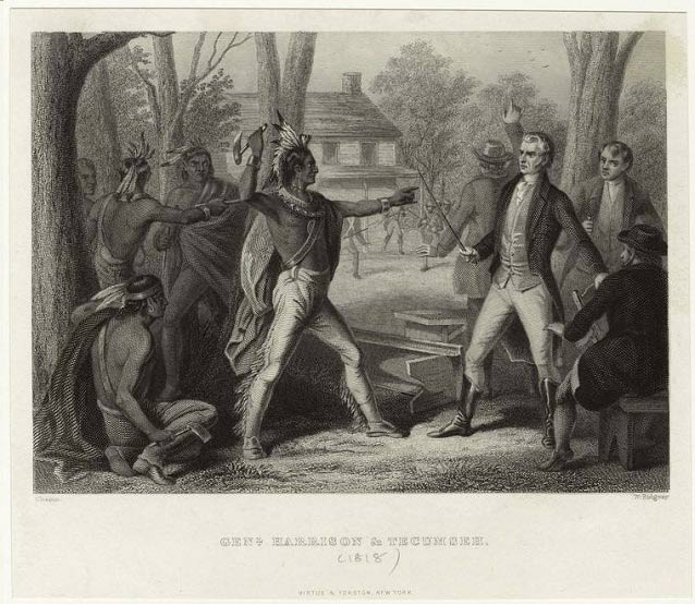 American Indian Tecumseh threatens William Henry Harrison with a hatchet in this 1818 engraving.