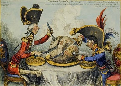 A cartoon image of two men seated at a dining table, carving a globe with knives and forks.