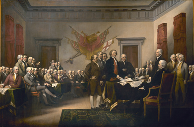 Painting of founding fathers presenting first draft of Declaration of Independence