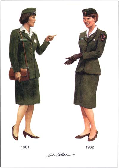 drawing of two women in skirt and jacket uniforms with beret-style hats