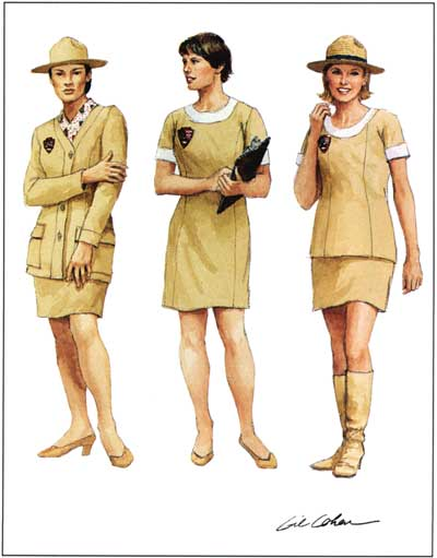 drawings of three women in light tan uniforms featuring mini skirts