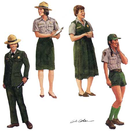 four drawings of womein in various modern park service uniforms