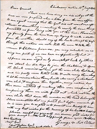 Hand-written letter from the Chickasaw Nation to General Andrew Jackson