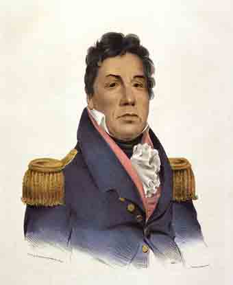 Portrait of Pushmataha: man in blue officer's coat with gold epaulets